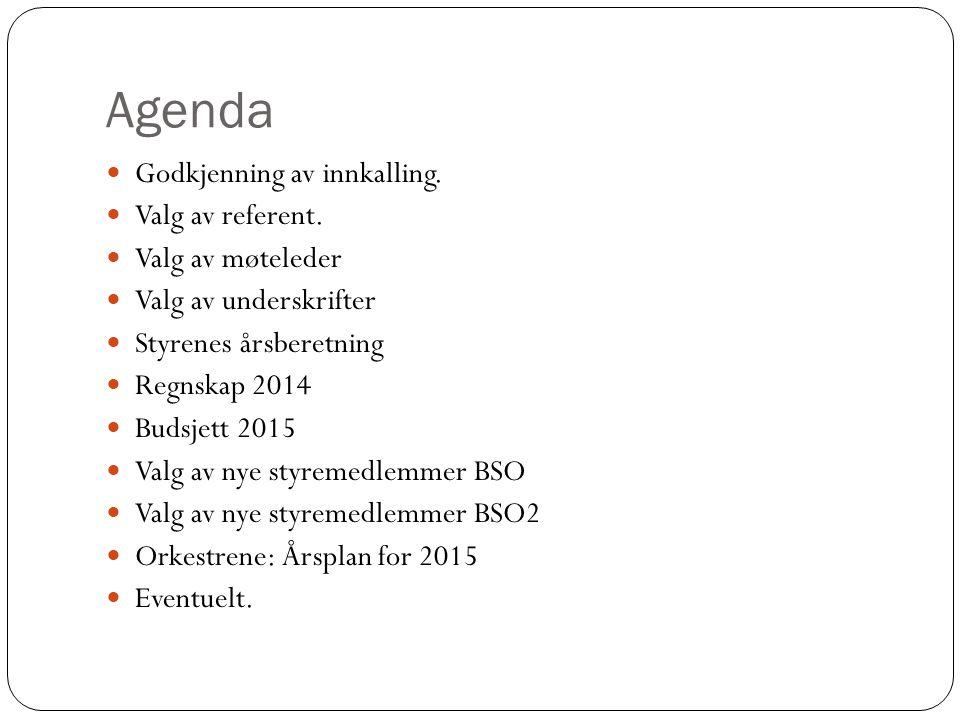 Agenda Godkjenning av innkalling. Valg av referent. Valg av møteleder Valg av underskrifter Styrenes årsberetning Regnskap 2014 Budsjett 2015 Valg av
