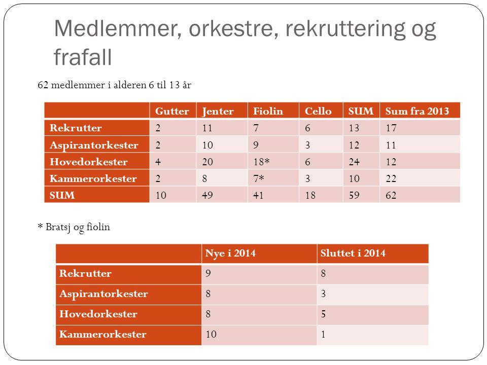 Medlemmer, orkestre, rekruttering og frafall GutterJenterFiolinCelloSUMSum fra 2013 Rekrutter211761317 Aspirantorkester210931211 Hovedorkester42018*62