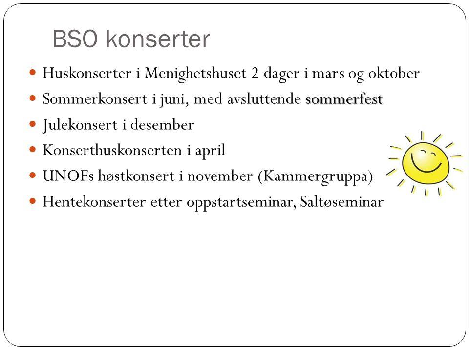 BSO konserter Huskonserter i Menighetshuset 2 dager i mars og oktober sommerfest Sommerkonsert i juni, med avsluttende sommerfest Julekonsert i desember Konserthuskonserten i april UNOFs høstkonsert i november (Kammergruppa) Hentekonserter etter oppstartseminar, Saltøseminar
