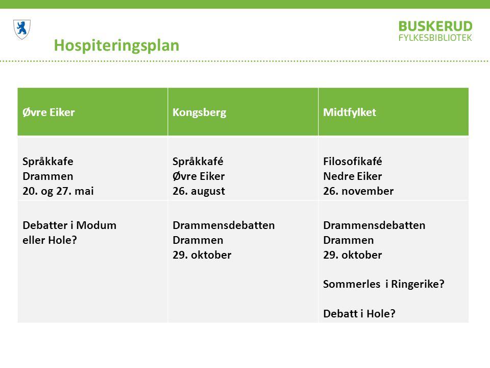 Hospiteringsplan Øvre EikerKongsbergMidtfylket Språkkafe Drammen 20. og 27. mai Språkkafé Øvre Eiker 26. august Filosofikafé Nedre Eiker 26. november