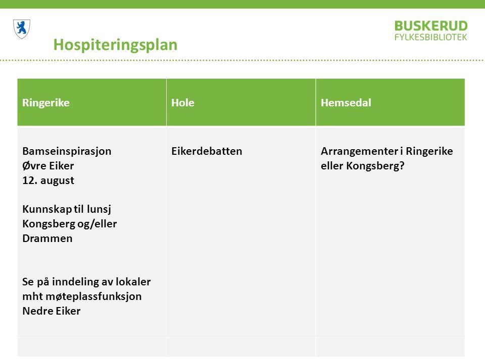 Hospiteringsplan RingerikeHoleHemsedal Bamseinspirasjon Øvre Eiker 12. august Kunnskap til lunsj Kongsberg og/eller Drammen Se på inndeling av lokaler