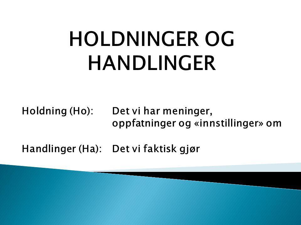 HOLDNINGER OG HANDLINGER Holdning (Ho): Det vi har meninger, oppfatninger og «innstillinger» om Handlinger (Ha): Det vi faktisk gjør