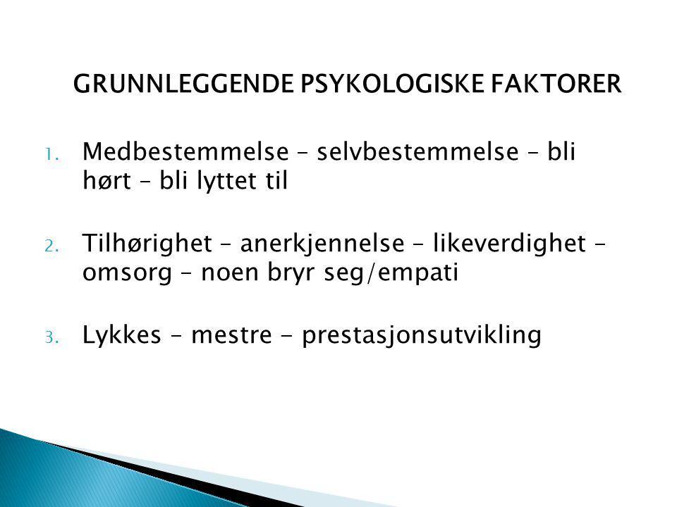 GRUNNLEGGENDE PSYKOLOGISKE FAKTORER 1.