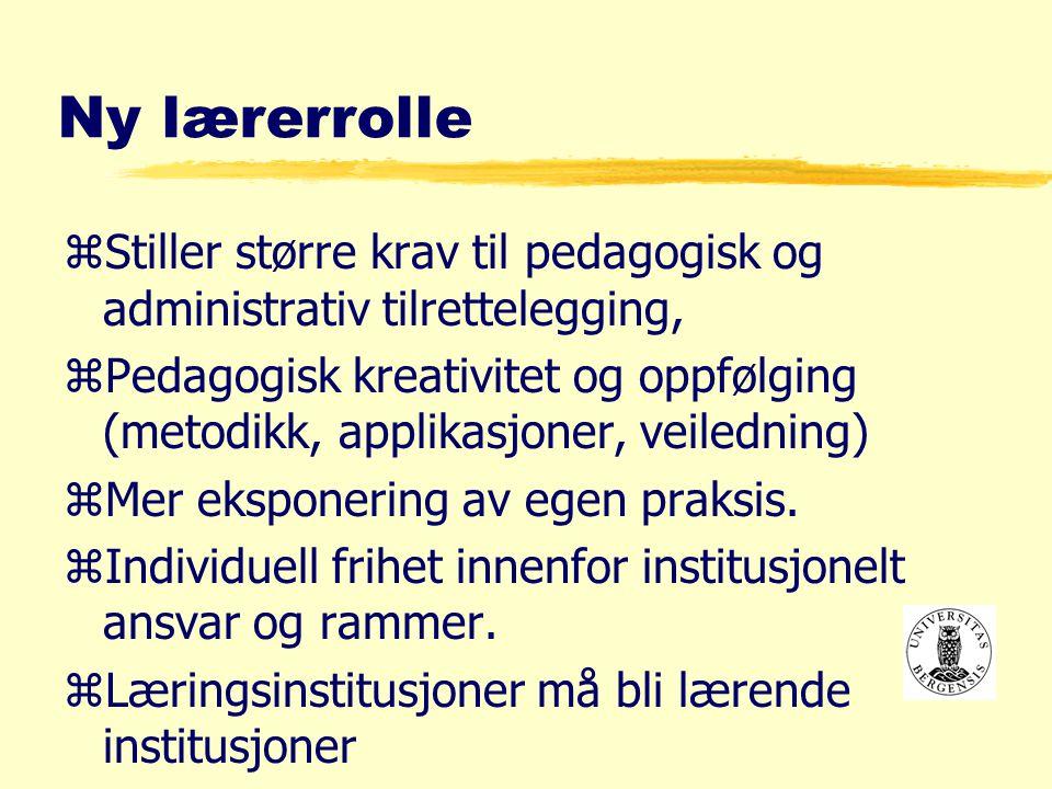 Ny lærerrolle zStiller større krav til pedagogisk og administrativ tilrettelegging, zPedagogisk kreativitet og oppfølging (metodikk, applikasjoner, veiledning) zMer eksponering av egen praksis.