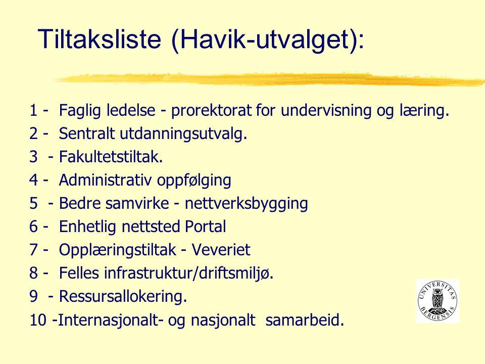 Tiltaksliste (Havik-utvalget): 1 - Faglig ledelse - prorektorat for undervisning og læring.