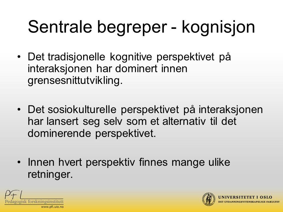 Sentrale begreper - kognisjon Det tradisjonelle kognitive perspektivet på interaksjonen har dominert innen grensesnittutvikling. Det sosiokulturelle p