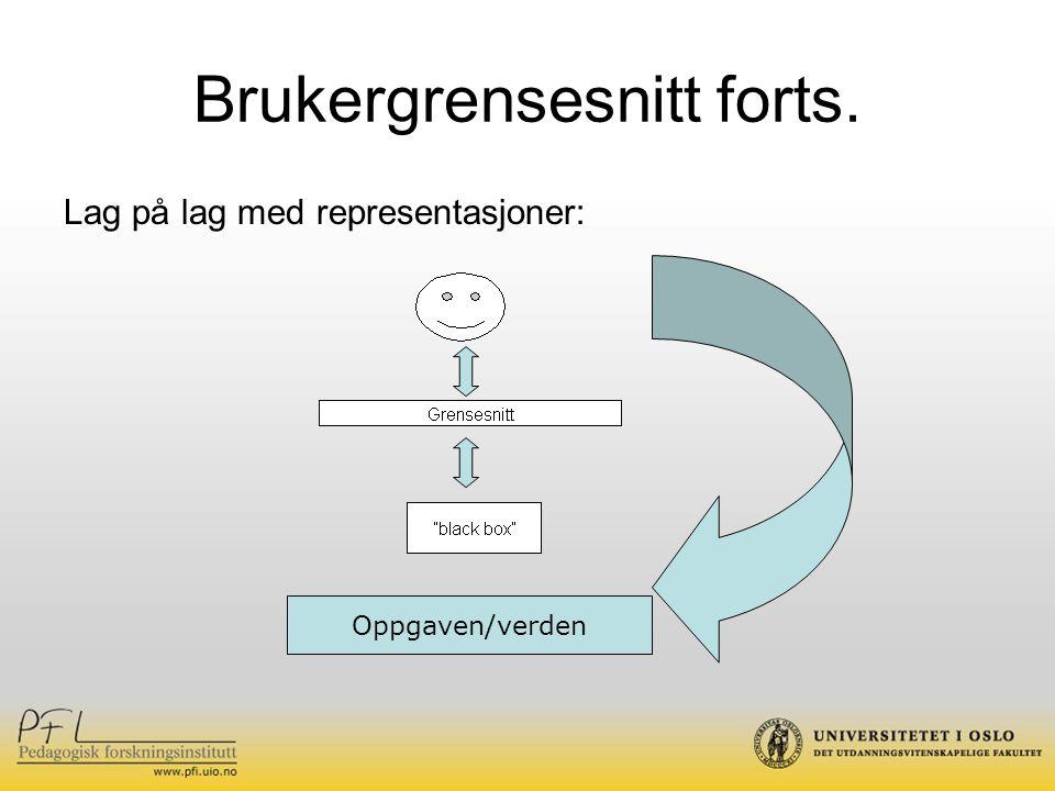 Sentrale begreper - Usability Brukervennlighet/brukbarhet Tilpasningen mellom brukeren og grensesnittet skal være så god, at funksjonaliteten og bruken skal kunne utledes fra formen.