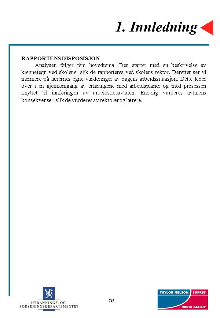10 1. Innledning RAPPORTENS DISPOSISJON Analysen følger fem hovedtema. Den starter med en beskrivelse av kjennetegn ved skolene, slik de rapporteres v