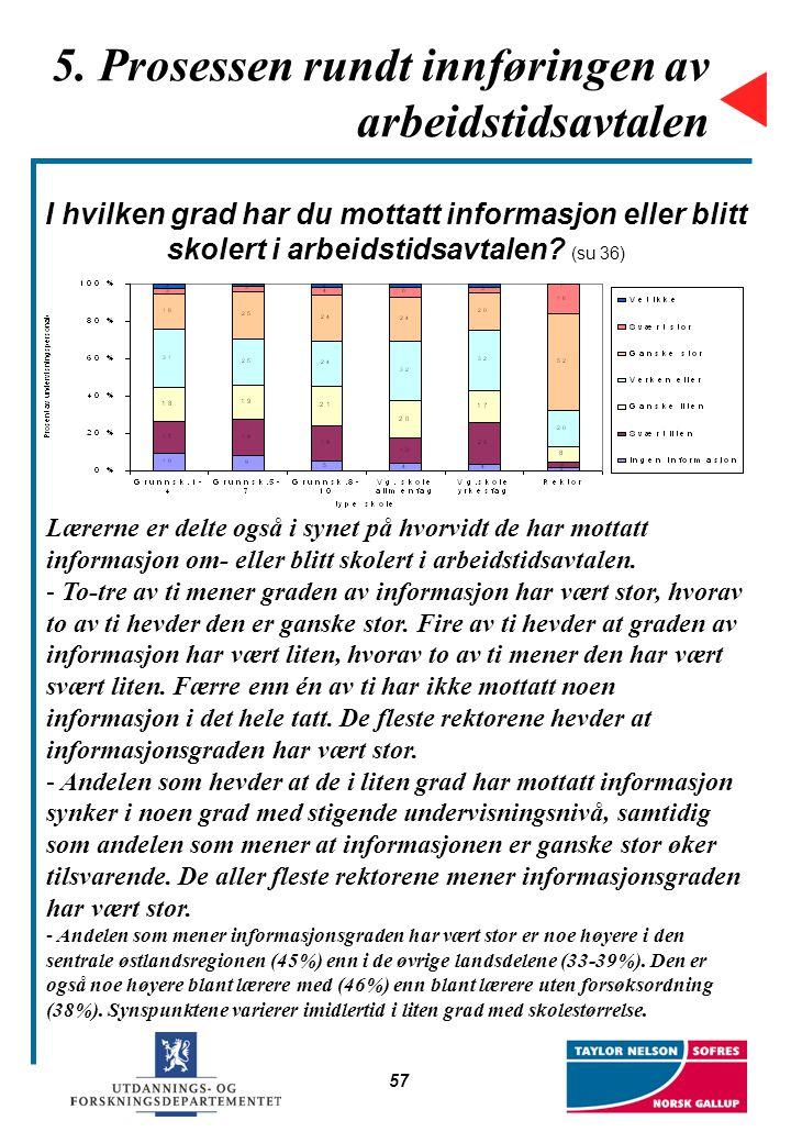 57 5. Prosessen rundt innføringen av arbeidstidsavtalen I hvilken grad har du mottatt informasjon eller blitt skolert i arbeidstidsavtalen? (su 36) Læ