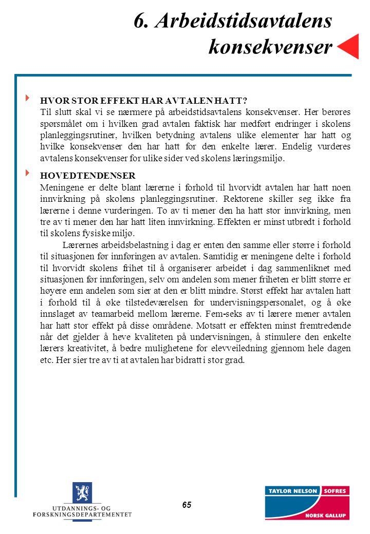 65 6. Arbeidstidsavtalens konsekvenser  HVOR STOR EFFEKT HAR AVTALEN HATT? Til slutt skal vi se nærmere på arbeidstidsavtalens konsekvenser. Her berø