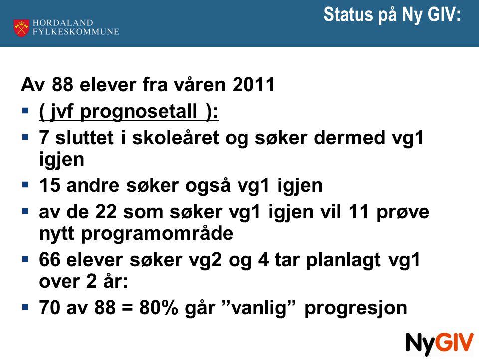 Status på Ny GIV: Av 88 elever fra våren 2011  ( jvf prognosetall ):  7 sluttet i skoleåret og søker dermed vg1 igjen  15 andre søker også vg1 igje