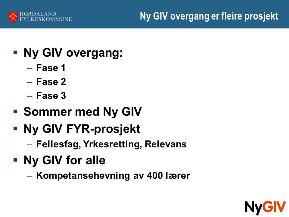 Ny GIV overgang er fleire prosjekt  Ny GIV overgang: –Fase 1 –Fase 2 –Fase 3  Sommer med Ny GIV  Ny GIV FYR-prosjekt –Fellesfag, Yrkesretting, Rele