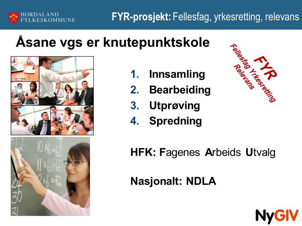 FYR-prosjekt: Fellesfag, yrkesretting, relevans 1.Innsamling 2.Bearbeiding 3.Utprøving 4.Spredning HFK: Fagenes Arbeids Utvalg Nasjonalt: NDLA Åsane v
