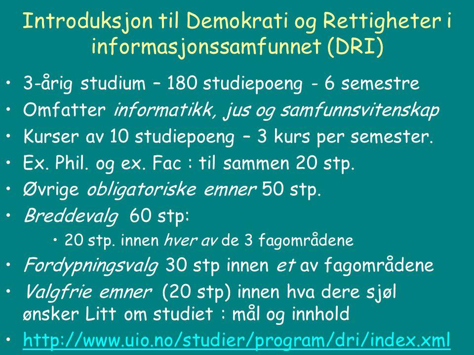 Introduksjon til Demokrati og Rettigheter i informasjonssamfunnet (DRI) 3-årig studium – 180 studiepoeng - 6 semestre Omfatter informatikk, jus og sam
