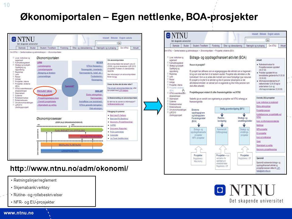 10 Økonomiportalen – Egen nettlenke, BOA-prosjekter Retningslinjer/reglement Skjemabank/verktøy Rutine- og rollebeskrivelser NFR- og EU-prosjekter htt