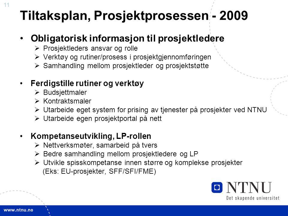 11 Tiltaksplan, Prosjektprosessen - 2009 Obligatorisk informasjon til prosjektledere  Prosjektleders ansvar og rolle  Verktøy og rutiner/prosess i p