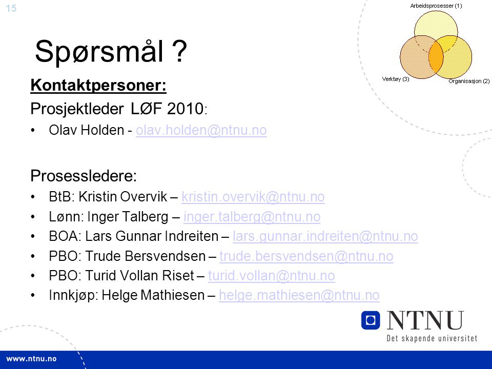 15 Spørsmål ? Kontaktpersoner: Prosjektleder LØF 2010 : Olav Holden - olav.holden@ntnu.noolav.holden@ntnu.no Prosessledere: BtB: Kristin Overvik – kri