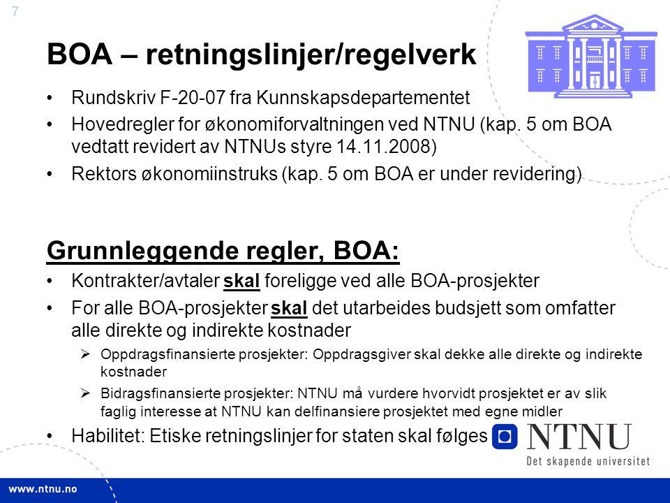 7 BOA – retningslinjer/regelverk Rundskriv F-20-07 fra Kunnskapsdepartementet Hovedregler for økonomiforvaltningen ved NTNU (kap. 5 om BOA vedtatt rev