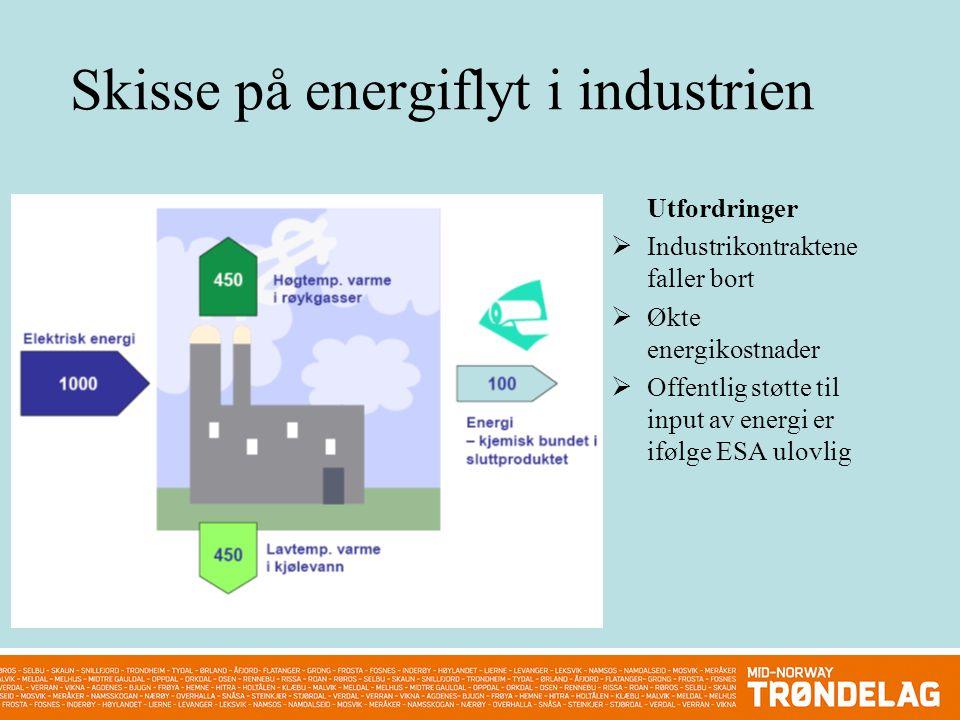 Skisse på energiflyt i industrien Utfordringer  Industrikontraktene faller bort  Økte energikostnader  Offentlig støtte til input av energi er ifølge ESA ulovlig