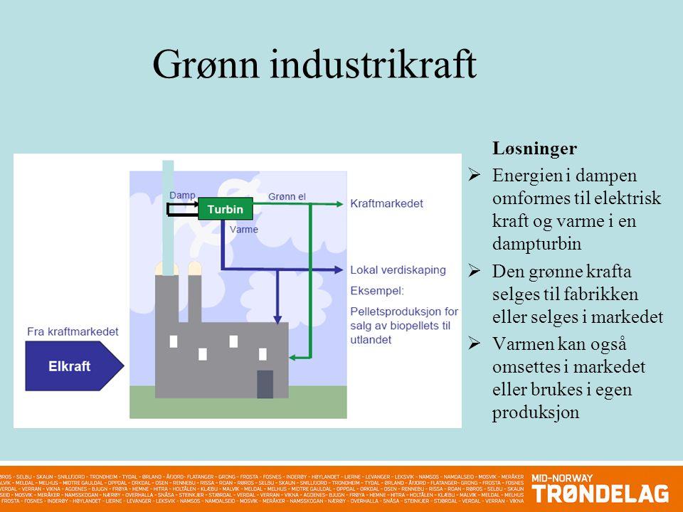 Grønn industrikraft Løsninger  Energien i dampen omformes til elektrisk kraft og varme i en dampturbin  Den grønne krafta selges til fabrikken eller selges i markedet  Varmen kan også omsettes i markedet eller brukes i egen produksjon