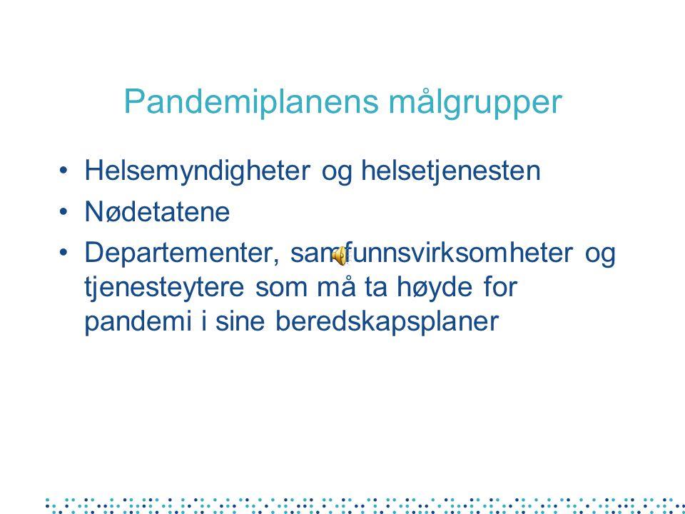 Pandemiplanens målgrupper Helsemyndigheter og helsetjenesten Nødetatene Departementer, samfunnsvirksomheter og tjenesteytere som må ta høyde for pandemi i sine beredskapsplaner