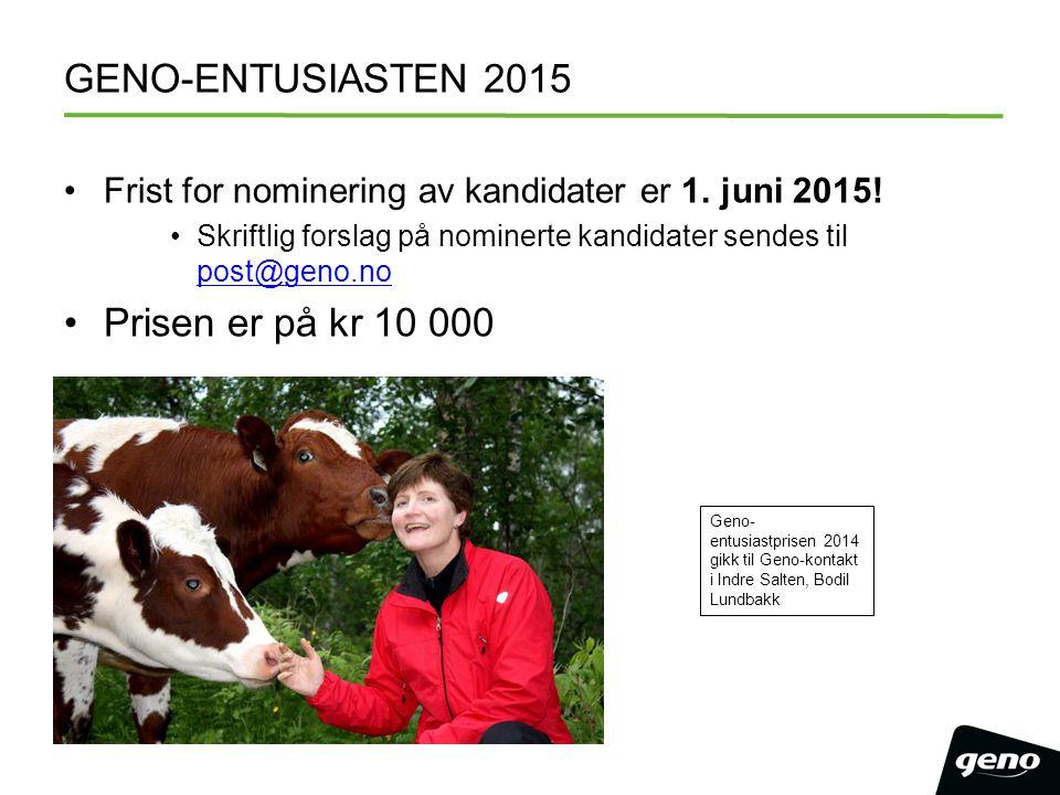 GENO-ENTUSIASTEN 2015 Frist for nominering av kandidater er 1. juni 2015! Skriftlig forslag på nominerte kandidater sendes til post@geno.no post@geno.