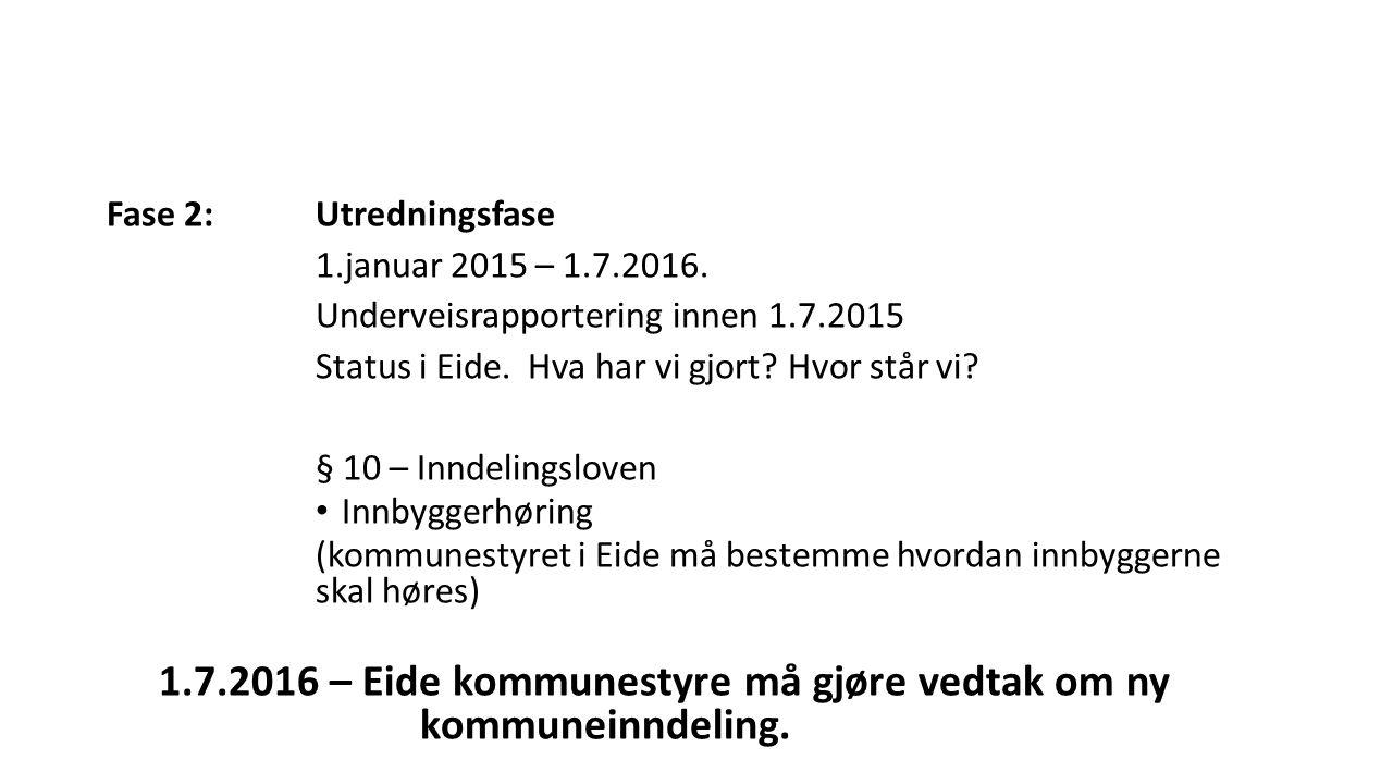 Fase 2:Utredningsfase 1.januar 2015 – 1.7.2016. Underveisrapportering innen 1.7.2015 Status i Eide. Hva har vi gjort? Hvor står vi? § 10 – Inndelingsl