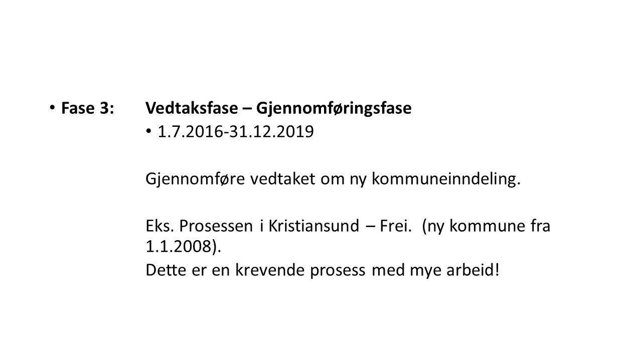 Fase 3:Vedtaksfase – Gjennomføringsfase 1.7.2016-31.12.2019 Gjennomføre vedtaket om ny kommuneinndeling. Eks. Prosessen i Kristiansund – Frei. (ny kom