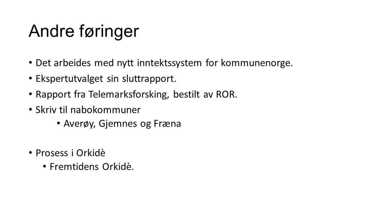 Andre føringer Det arbeides med nytt inntektssystem for kommunenorge. Ekspertutvalget sin sluttrapport. Rapport fra Telemarksforsking, bestilt av ROR.
