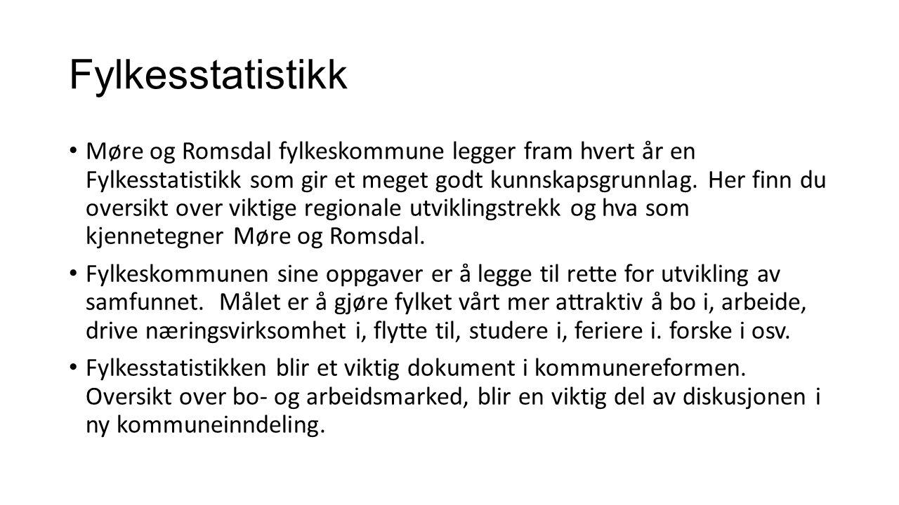 Fylkesstatistikk Møre og Romsdal fylkeskommune legger fram hvert år en Fylkesstatistikk som gir et meget godt kunnskapsgrunnlag. Her finn du oversikt