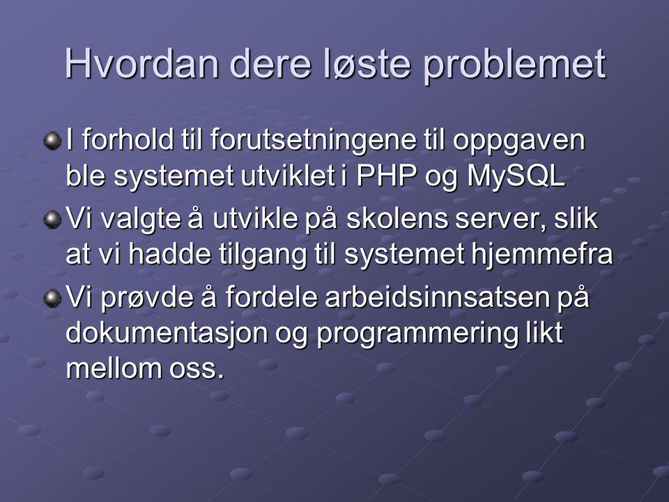 Hvordan dere løste problemet I forhold til forutsetningene til oppgaven ble systemet utviklet i PHP og MySQL Vi valgte å utvikle på skolens server, sl