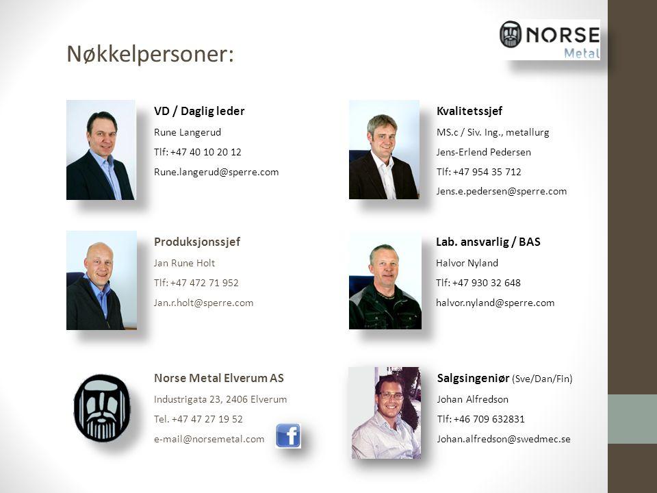 Produksjonssjef Jan Rune Holt Tlf: +47 472 71 952 Jan.r.holt@sperre.com Kvalitetssjef MS.c / Siv. Ing., metallurg Jens-Erlend Pedersen Tlf: +47 954 35