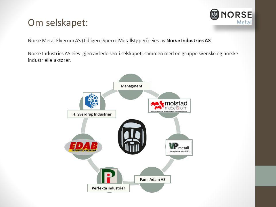 H. Sverdrup Industrier Managment Perfekta Industrier Fam. Adam AS Om selskapet: Norse Metal Elverum AS (tidligere Sperre Metallstøperi) eies av Norse