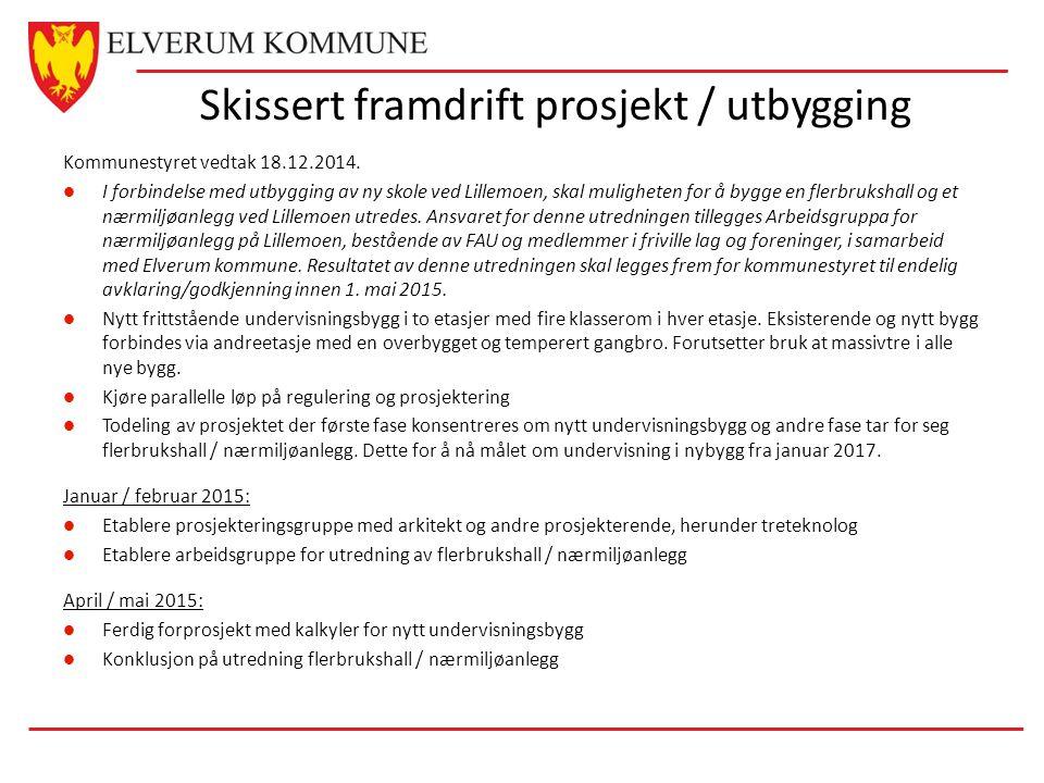 Skissert framdrift prosjekt / utbygging Kommunestyret vedtak 18.12.2014.
