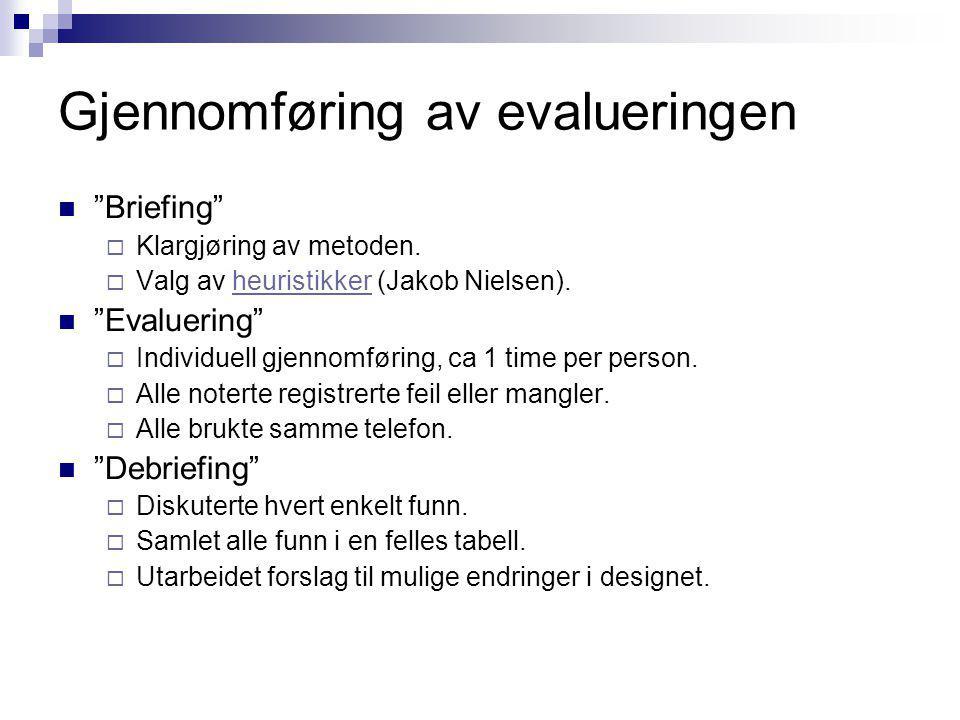 """Gjennomføring av evalueringen """"Briefing""""  Klargjøring av metoden.  Valg av heuristikker (Jakob Nielsen).heuristikker """"Evaluering""""  Individuell gjen"""