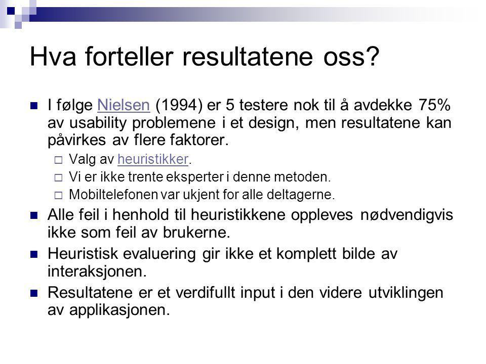 Hva forteller resultatene oss? I følge Nielsen (1994) er 5 testere nok til å avdekke 75% av usability problemene i et design, men resultatene kan påvi