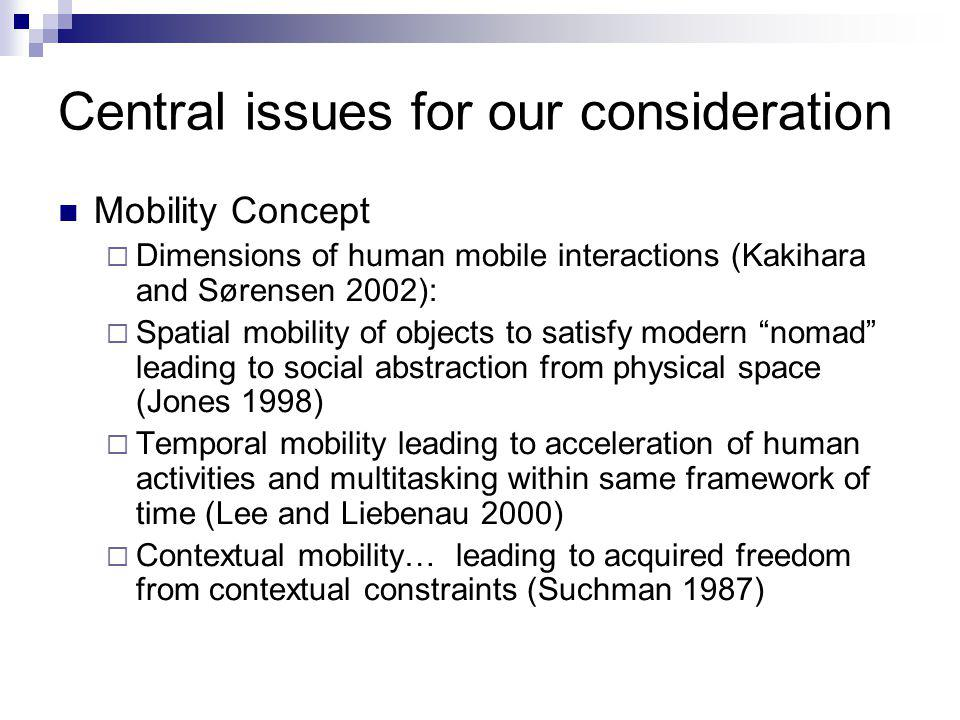 Central issues for our consideration Mobility Concept  Dimensions of human mobile interactions (Kakihara and Sørensen 2002):  Spatial mobility of objects to satisfy modern nomad leading to social abstraction from physical space (Jones 1998)  Temporal mobility leading to acceleration of human activities and multitasking within same framework of time (Lee and Liebenau 2000)  Contextual mobility… leading to acquired freedom from contextual constraints (Suchman 1987)