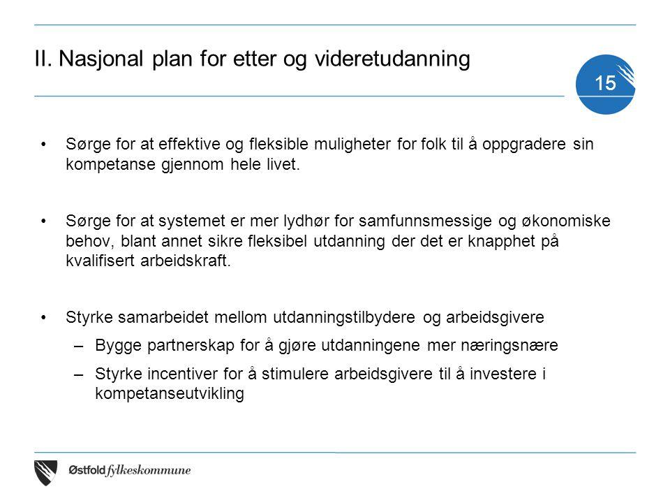 II. Nasjonal plan for etter og videretudanning Sørge for at effektive og fleksible muligheter for folk til å oppgradere sin kompetanse gjennom hele li