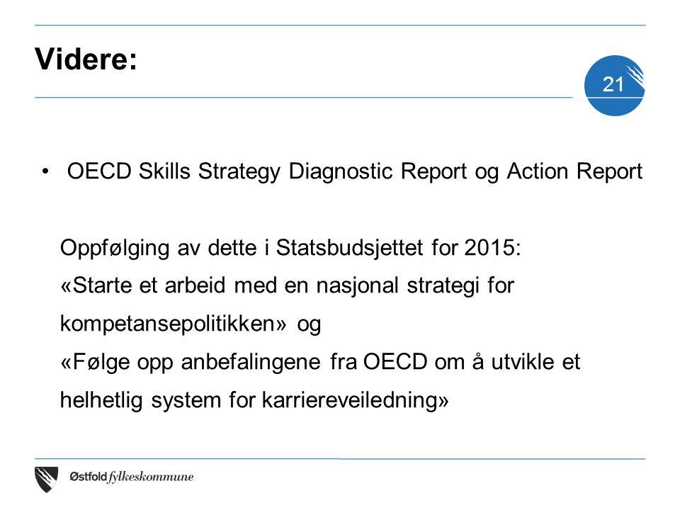 Videre: OECD Skills Strategy Diagnostic Report og Action Report Oppfølging av dette i Statsbudsjettet for 2015: «Starte et arbeid med en nasjonal stra
