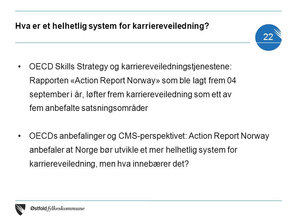 Hva er et helhetlig system for karriereveiledning? OECD Skills Strategy og karriereveiledningstjenestene: Rapporten «Action Report Norway» som ble lag