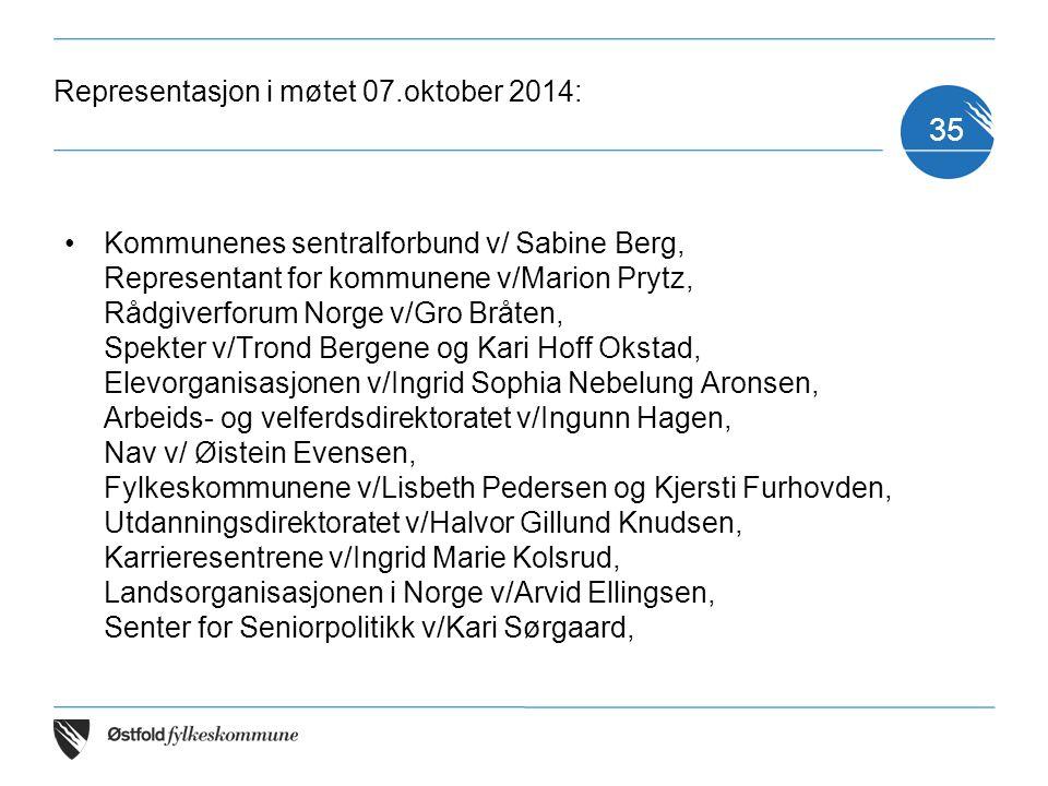 Representasjon i møtet 07.oktober 2014: Kommunenes sentralforbund v/ Sabine Berg, Representant for kommunene v/Marion Prytz, Rådgiverforum Norge v/Gro
