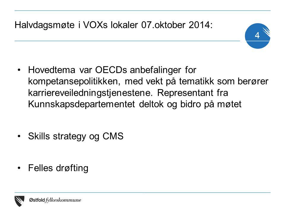 Halvdagsmøte i VOXs lokaler 07.oktober 2014: Hovedtema var OECDs anbefalinger for kompetansepolitikken, med vekt på tematikk som berører karriereveile