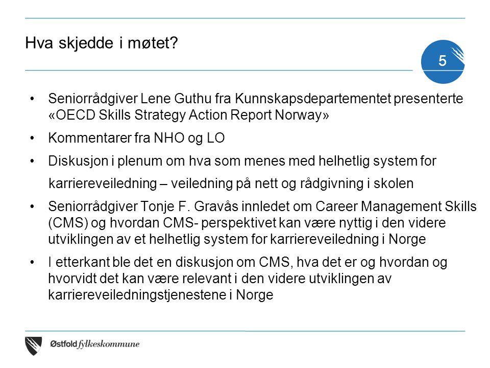 OECD Skills Strategy Action Report Norway Rapporten, er OECDs anbefalinger om hvilke grep Norge bør ta i fremtidens kompetansepolitikk (oppfølger av OECDs Diagnostic Report Norway) OECD Skills Strategy og karriereveiledningstjenestene Karriereveiledning et viktig tema i rapporten og en sentral del av anbefalingene -Helhetlig veiledningstjeneste -Veiledning på nett 6