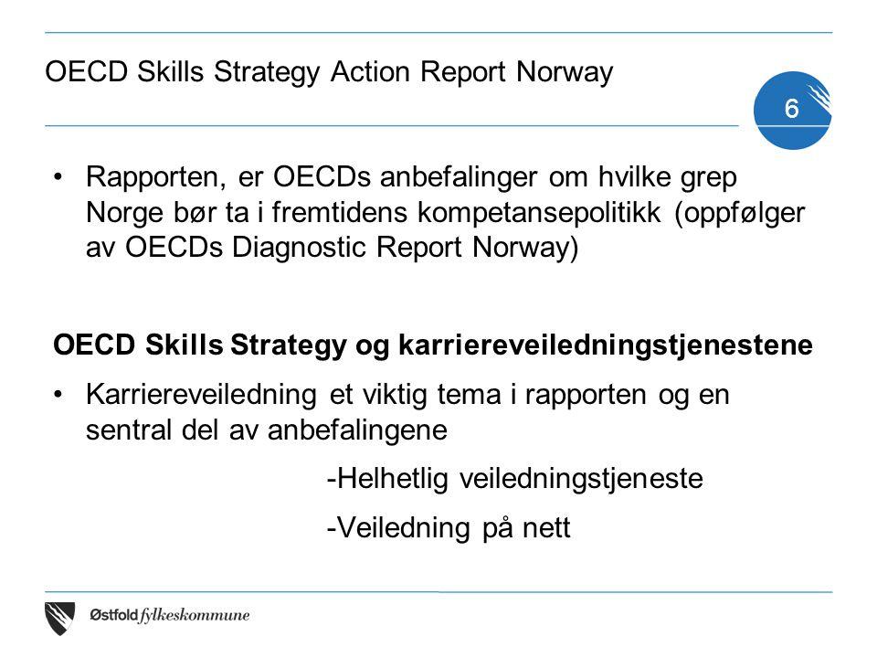 Om skills strategy: Samarbeidsprosjekt mellom OECD og KD, KMD, NFD, ASD og FIN KD har hatt det koordinerende ansvaret for prosjektet siden oppstart våren 2013 Bred involvering nasjonalt og regionalt av direktorater, kompetansepolitiske organisasjoner og bedrifter Workshops og OECDs komparative analyser og data 7