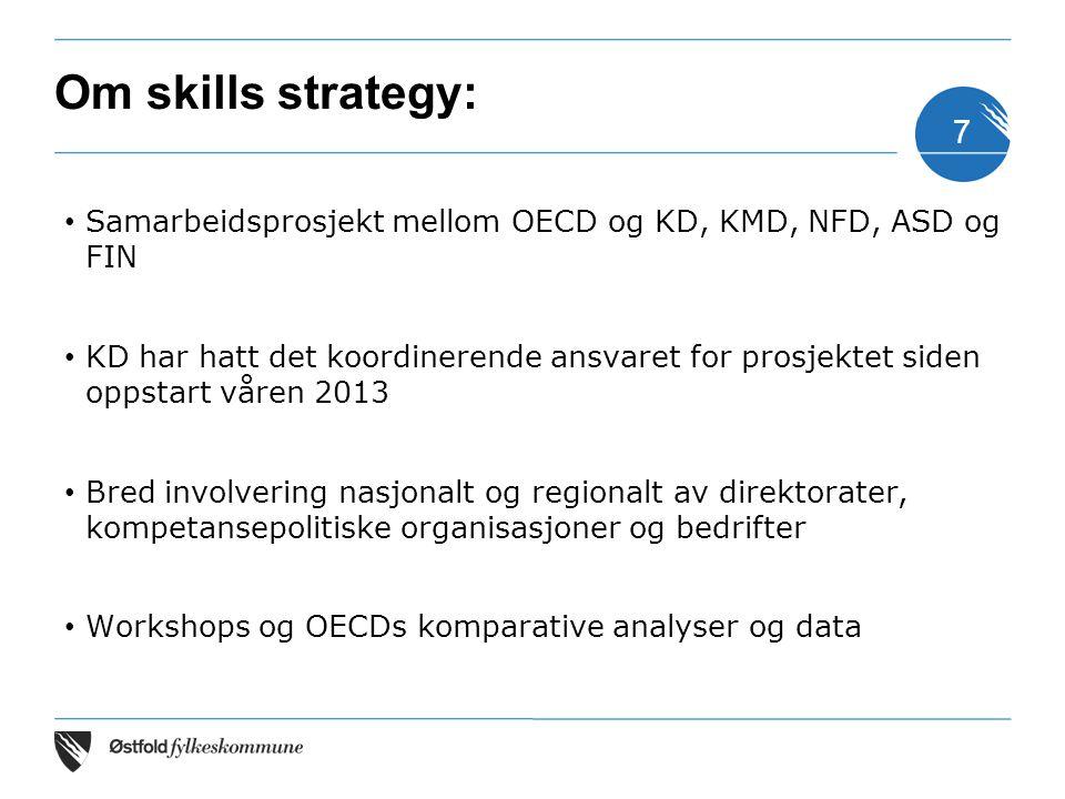 Om skills strategy: Samarbeidsprosjekt mellom OECD og KD, KMD, NFD, ASD og FIN KD har hatt det koordinerende ansvaret for prosjektet siden oppstart vå