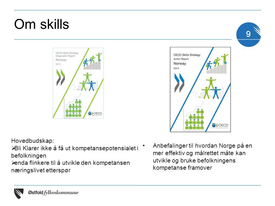 Om skills Anbefalinger til hvordan Norge på en mer effektiv og målrettet måte kan utvikle og bruke befolkningens kompetanse framover 9 Hovedbudskap: 