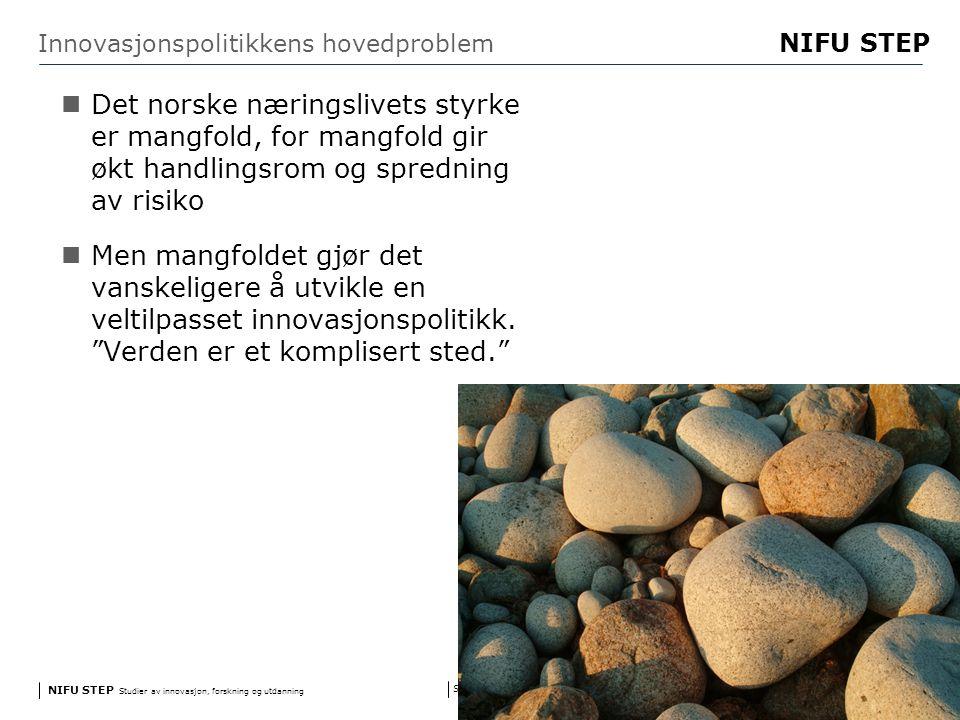 NIFU STEP Studier av innovasjon, forskning og utdanning www.step.no NIFU STEP Side 10 Innovasjonspolitikkens hovedproblem Det norske næringslivets styrke er mangfold, for mangfold gir økt handlingsrom og spredning av risiko Men mangfoldet gjør det vanskeligere å utvikle en veltilpasset innovasjonspolitikk.