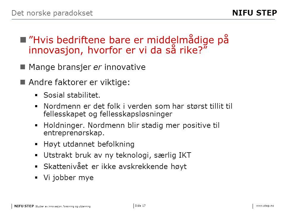 NIFU STEP Studier av innovasjon, forskning og utdanning www.step.no NIFU STEP Side 17 Det norske paradokset Hvis bedriftene bare er middelmådige på innovasjon, hvorfor er vi da så rike? Mange bransjer er innovative Andre faktorer er viktige:  Sosial stabilitet.