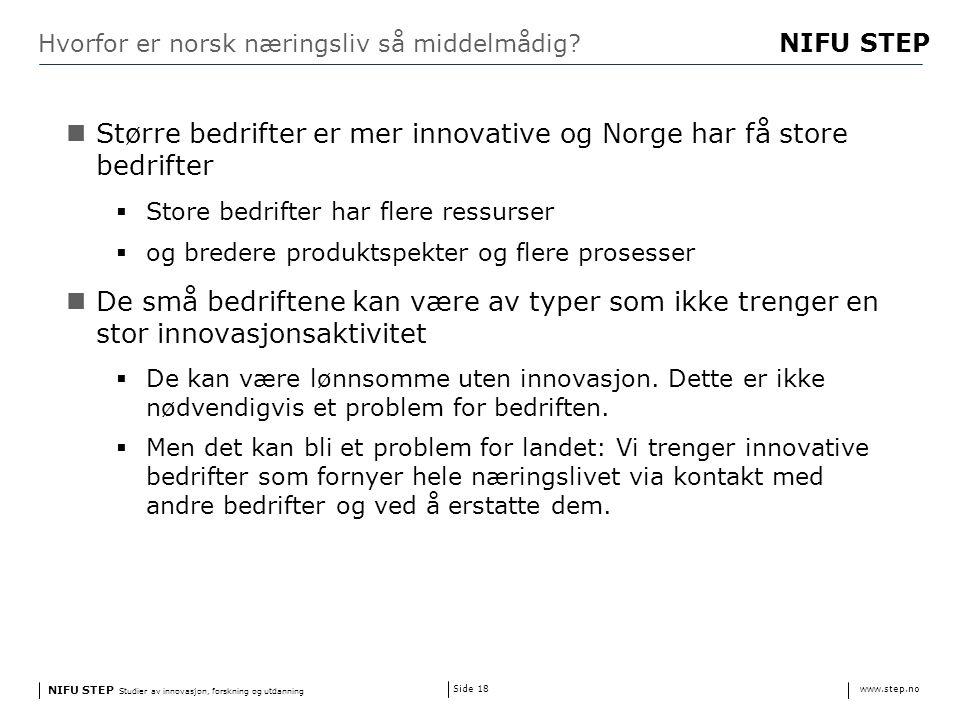 NIFU STEP Studier av innovasjon, forskning og utdanning www.step.no NIFU STEP Side 18 Hvorfor er norsk næringsliv så middelmådig.