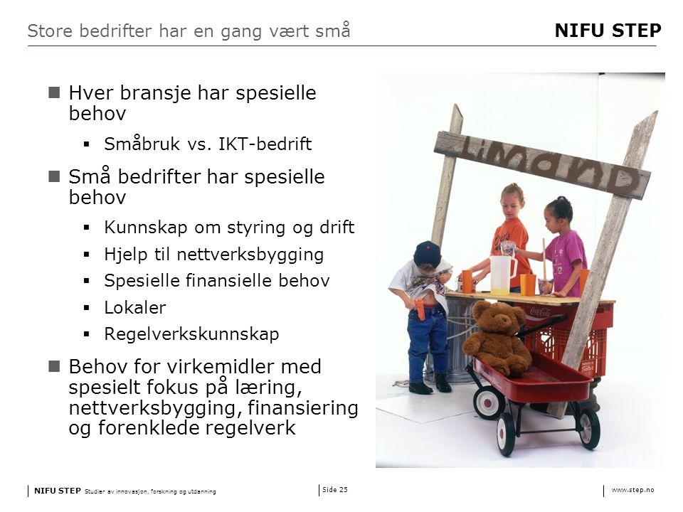 NIFU STEP Studier av innovasjon, forskning og utdanning www.step.no NIFU STEP Side 25 Store bedrifter har en gang vært små Hver bransje har spesielle behov  Småbruk vs.